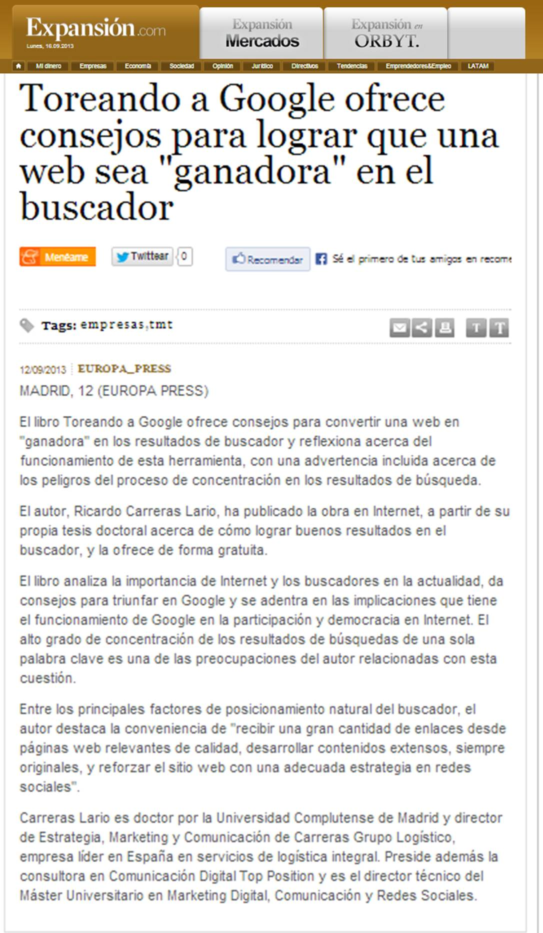 Expansion toreando a Google